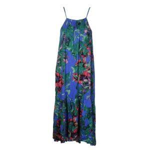 RACHEL ROY Blue Gathered Floral Sleeveless Halter